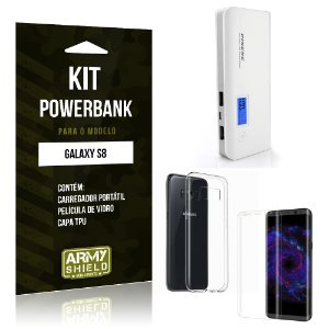 Kit Powerbank  Samsung Galaxy S8  Película de Vidro + Tpu + Powerbank 10000mah - Armyshield