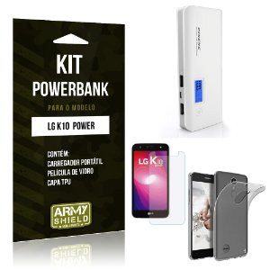 Kit Powerbank  LG K10 Power Película de Vidro + Tpu + Powerbank  10000mah - Armyshield