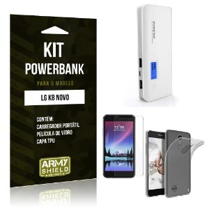 Kit Powerbank  LG K8 Novo Película de Vidro + Tpu + Powerbank  10000mah - Armyshield