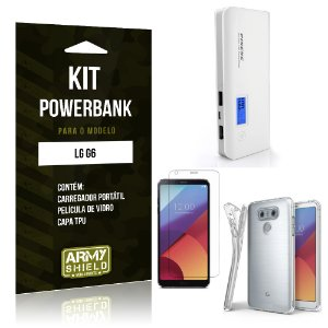 Kit Powerbank  LG G6  Película de Vidro + Tpu + Powerbank 10000mah - Armyshield