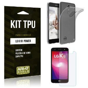 Kit TPU  LG K10 Power Película de Vidro + TPU Transparente   - Armyshield