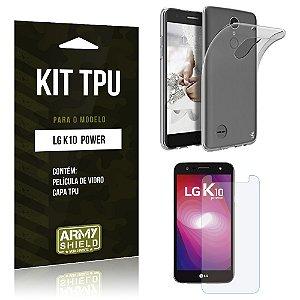 Kit TPU  LG K10 Power Película de Vidro + TPU Transparente   - Armyshield