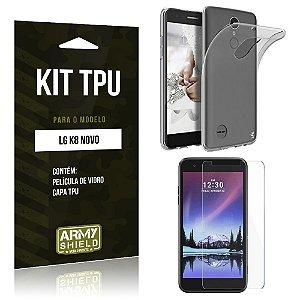 Kit TPU  LG K8 Novo Película de Vidro + TPU Transparente   - Armyshield