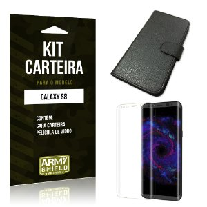 Kit Capa Carteira  Samsung Galaxy S8  Película de Vidro + Capa Carteira  - Armyshield