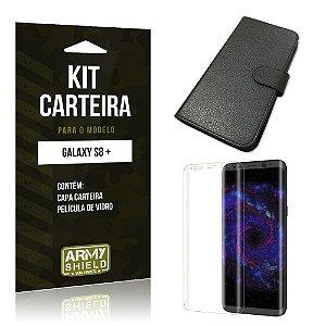 Kit Capa Carteira  Samsung Galaxy S8+  Película de Vidro + Capa Carteira  - Armyshield
