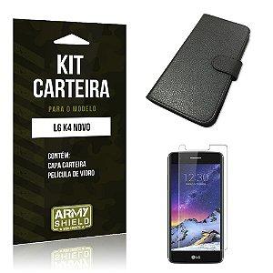 Kit Capa Carteira  LG K4 Novo Película de Vidro + Capa Carteira   - Armyshield