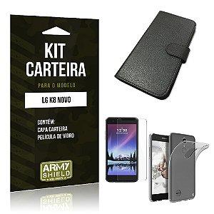 Kit Capa Carteira  LG K8 Novo Película de Vidro + Capa Carteira   - Armyshield