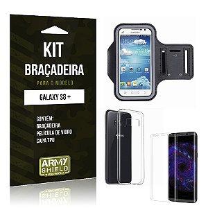 Kit Braçadeira + TPU  Samsung Galaxy S8 Plus  Película de Vidro +  Braçadeira + TPU  - Armyshield