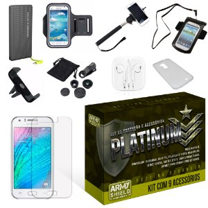 Kit Platinum Samsung Galaxy J3 com 9 Itens - Armyshield