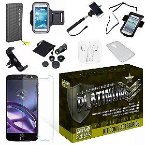 Kit Platinum Motorola Moto Z Force com 9 Itens - Armyshield