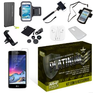 Kit Platinum LG K8 2017 com 9 Itens - Armyshield