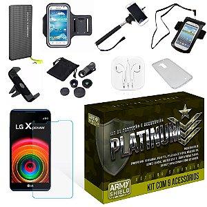 Kit Platinum LG X Power com 9 Itens - Armyshield