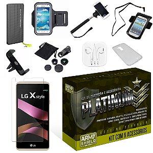 Kit Platinum LG X Style com 9 Itens - Armyshield