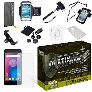 Kit Platinum Lenovo Vibe K6 Plus com 9 Itens - Armyshield