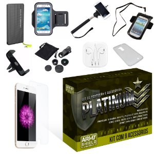 Kit Platinum Apple Iphone 6 Plus/6S Plus com 9 Itens - Armyshield