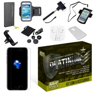 Kit Platinum Apple Iphone 7 Plus com 9 Itens - Armyshield