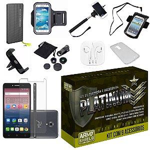 Kit Platinum Alcatel Pixi 4 5.0 com 9 Itens - Armyshield