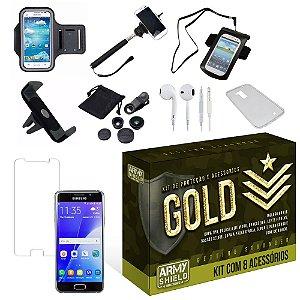Kit Gold Samsung Galaxy A3 2016 com 8 Itens - Armyshield