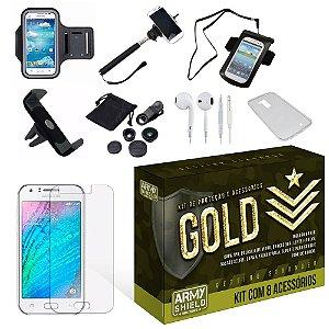 Kit Gold Samsung Galaxy J3 com 8 Itens - Armyshield