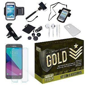 Kit Gold Samsung Galaxy J3 2017 com 8 Itens - Armyshield