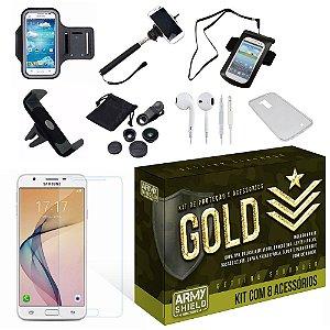 Kit Gold Samsung Galaxy J7 Prime com 8 Itens - Armyshield