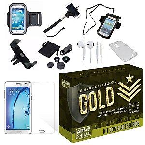 Kit Gold Samsung Galaxy On7 com 8 Itens - Armyshield