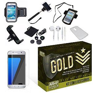 Kit Gold Samsung Galaxy S7 Edge com 8 Itens - Armyshield