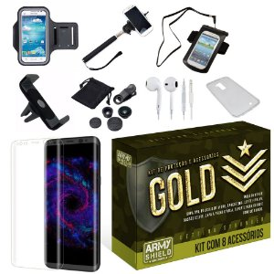 Kit Gold Samsung Galaxy S8 Plus com 8 Itens - Armyshield