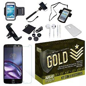 Kit Gold Motorola Moto Z Force com 8 Itens - Armyshield