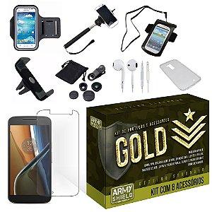 Kit Gold Motorola Moto G4 Play com 8 Itens - Armyshield