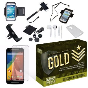 Kit Gold Motorola Moto G2 com 8 Itens - Armyshield
