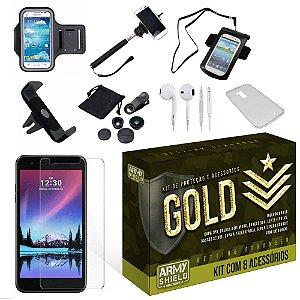 Kit Gold LG K10 2017 com 8 Itens - Armyshield