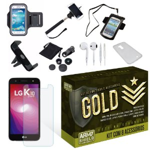 Kit Gold LG K10 Power com 8 Itens - Armyshield
