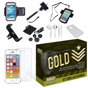 Kit Gold Apple Iphone 5/5S/5SE com 8 Itens - Armyshield