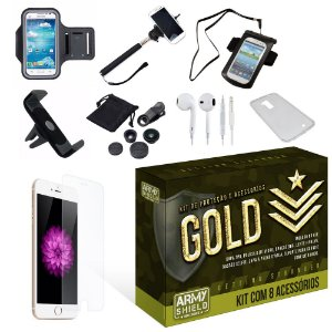Kit Gold Apple Iphone 6 Plus/6S Plus com 8 Itens - Armyshield
