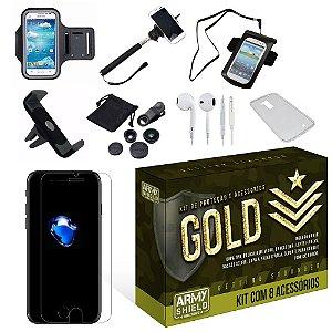 Kit Gold Apple Iphone 7 com 8 Itens - Armyshield