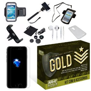 Kit Gold Apple Iphone 7 Plus com 8 Itens - Armyshield