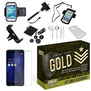 Kit Gold Asus Zenfone 3 5.5 ZE552KL com 8 Itens - Armyshield