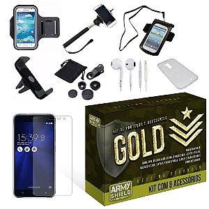 Kit Gold Asus Zenfone 3 5.2 ZE520KL com 8 Itens - Armyshield