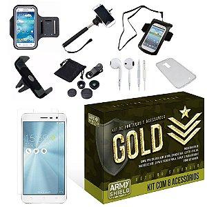Kit Gold Asus Zenfone 3 Max 5.2 ZC520TL com 8 Itens - Armyshield