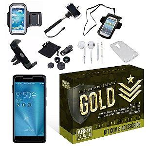 Kit Gold Asus Zenfone 3 Zoom ZE553KL com 8 Itens - Armyshield