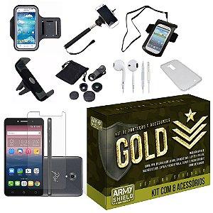Kit Gold Alcatel Pixi 4 5.0 com 8 Itens - Armyshield