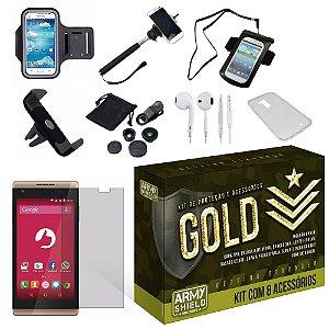 Kit Gold Positivo Selfie S455 com 8 Itens - Armyshield