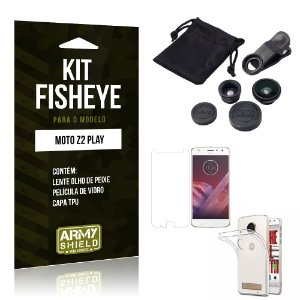 Kit Fisheye Motorola Moto Z2 Play Película de Vidro + Capa Tpu e Lente Olho de Peixe - Armyshield