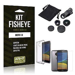 Kit Fisheye Motorola Moto E4 Película de Vidro + Capa Tpu e Lente Olho de Peixe - Armyshield