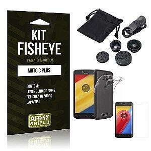 Kit Fisheye Motorola Moto C Plus Película de Vidro + Capa Tpu e Lente Olho de Peixe - Armyshield