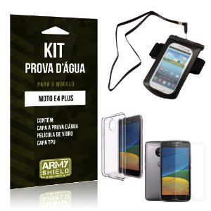 Kit Capa a prova d'agua Motorola Moto E4 Plus Película de Vidro + Tpu + Capa a prova d'agua  - Armyshield