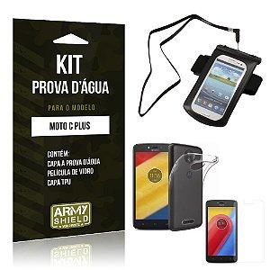 Kit Capa a prova d'agua Motorola Moto C Plus Película de Vidro + Tpu + Capa a prova d'agua - Armyshield