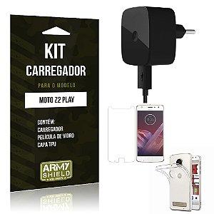 Kit Carregador  Motorola Moto Z2 Play Película de Vidro + Tpu + Carregador  - Armyshield