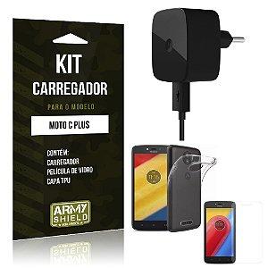 Kit Carregador  Motorola Moto C Plus Película de Vidro + Tpu + Carregador  - Armyshield